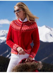 stacey red nordic cardigan