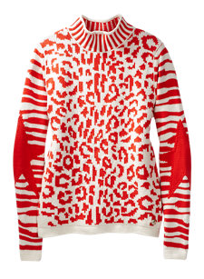 snowcat coral leopard sweater