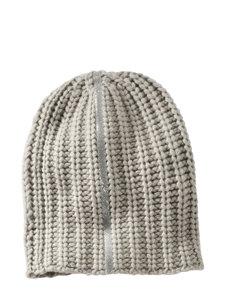 crystal stripe cashmere knit hat