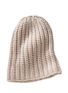 herringbone cashmere knit hat