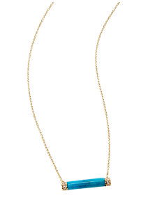 turquoise and diamond bar necklace