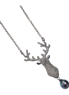 ramona stag grey necklace