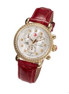 csx-36 gold, diamond dial garnet alligator watch