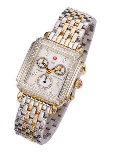 deco two tone diamond dial watch