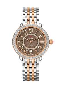 serein two tone rose gold, cocoa diamond dial watch