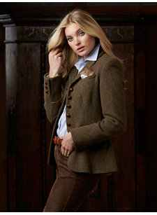 lara tweed jacket brown