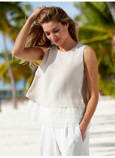 look 1a sleeveless silk/tulle top