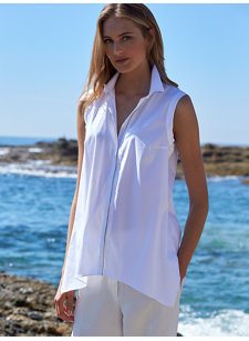 look 9 sleeveless top with monili trim
