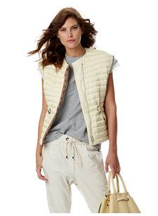 look 7 quilted front zip vest