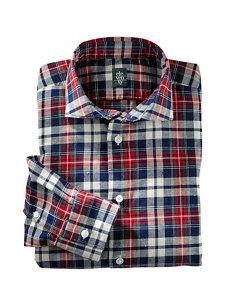 andrew plaid navy shirt