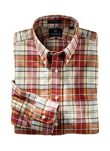 red tan plaid shirt