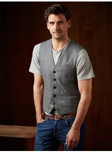f15 look 6 waistcoat flannel grey