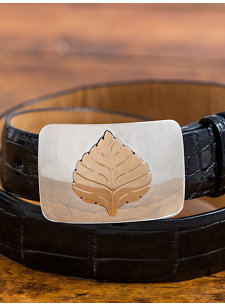 aspen leaf brass belt buckle