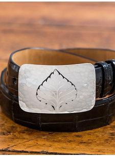 hammered aspen leaf belt buckle