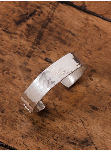 small hammered silver bracelet