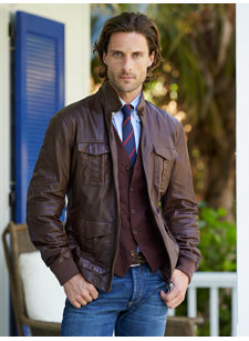 syrah leather field jacket