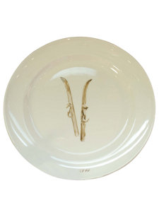 small plate with skis