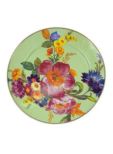 flower market charger plate green