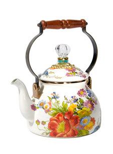 flower market tea kettle white