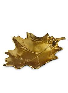 15'' gold oak leaf bowl