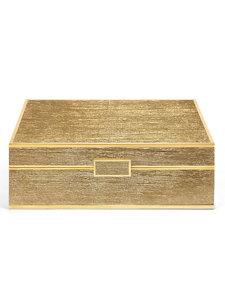 gold linen large jewelry box