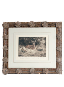 pinecone framed deer family print
