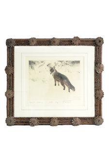 pinecone framed fox print