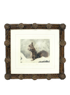 pinecone framed squirrel print