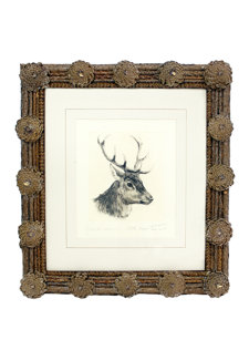 pinecone framed stag head print